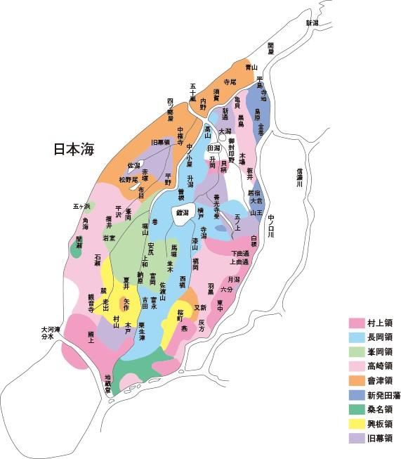 西蒲原郡旧藩領地分布図