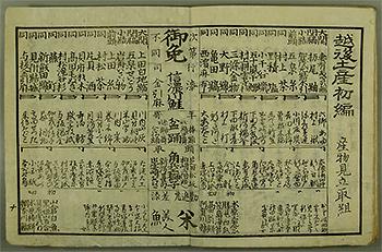 越後土産初編「産物見立取組」新潟県立文書館 提供